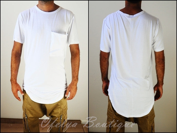 Wide Neck Big Twill Pocket Extended Drop Oval Hem Viscose T shirt