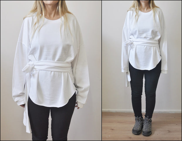 Asymmetric Knot Tie Around Waist Wrap Raw Oval Hem Sweatshirt in White / Overlong Sleeve Cut-out Accent