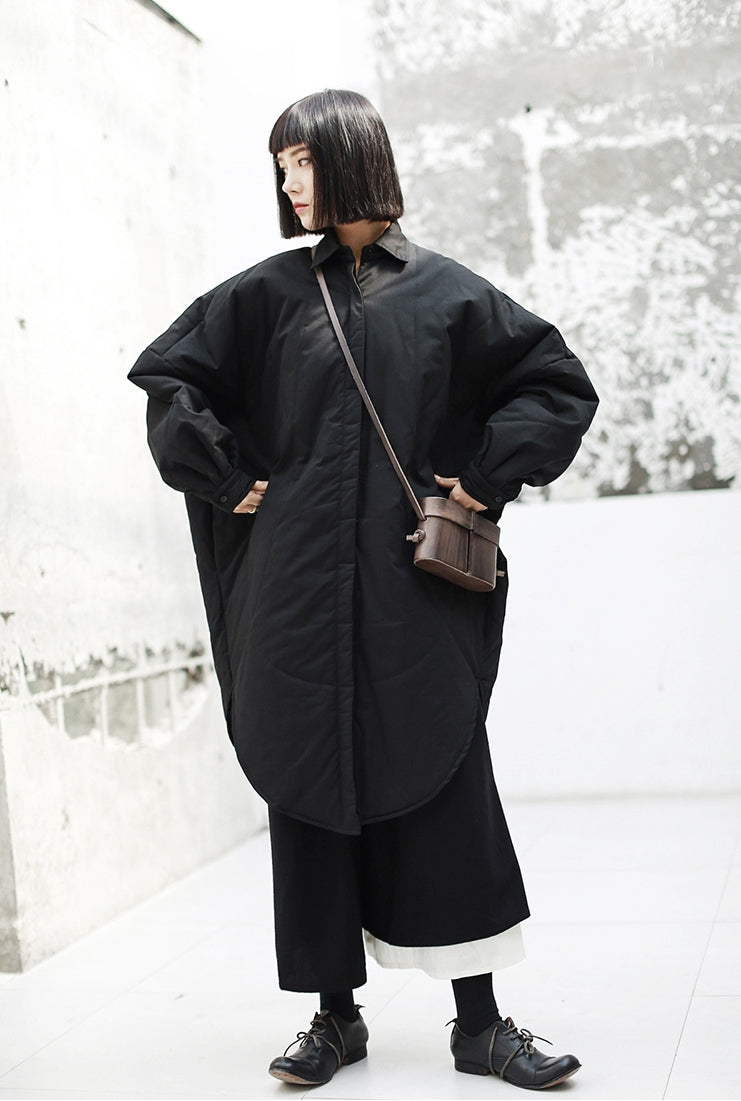 Dark Wind Japanese Loose Shirt Dress Mid-Length Cotton Coat Kimono Jacket