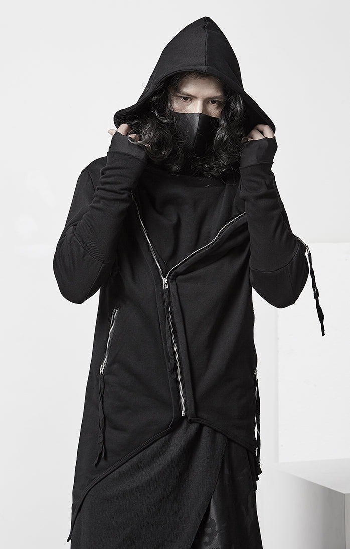 Men's Ninja Punk Webbing Gothic Asymmetrical Hoodie Nightclub Stylist Costume Dark Slim