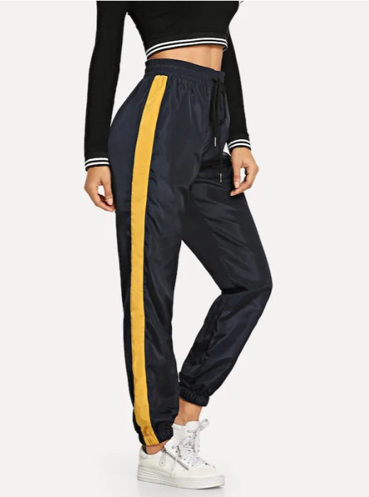 High Waisted Satin Side Striped Jogger Pants