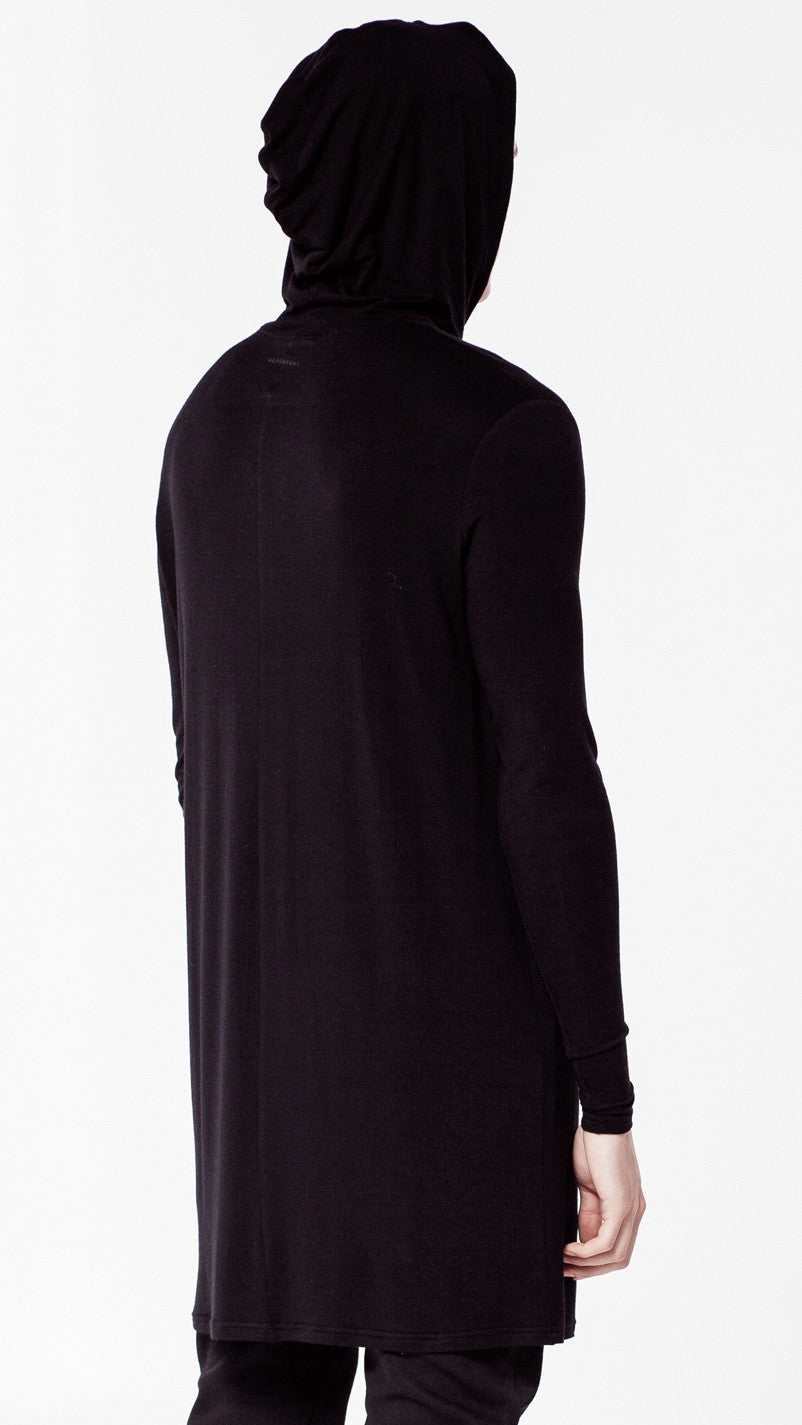 Extended Essential Hooded Long Sleeve Drop Back Under T-shirt Viscose Tee