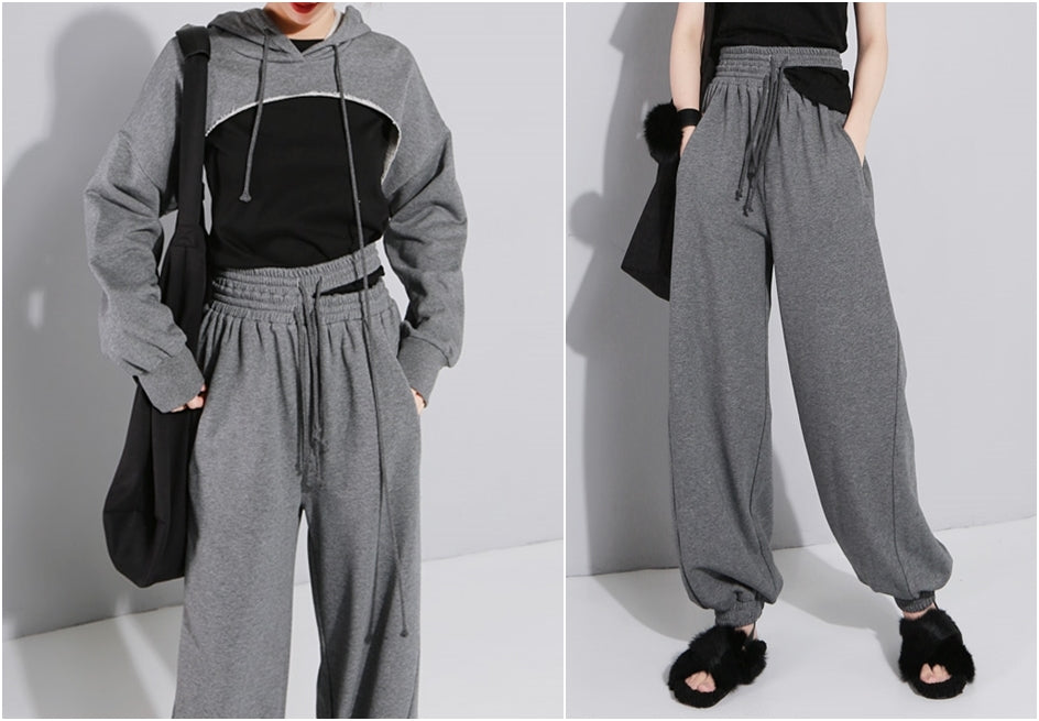 Elastic Double High Waist Trousers and Crop Top for Women Pants Lace up Sweatpants / Hip Hop Jogger - women set 2 pcs