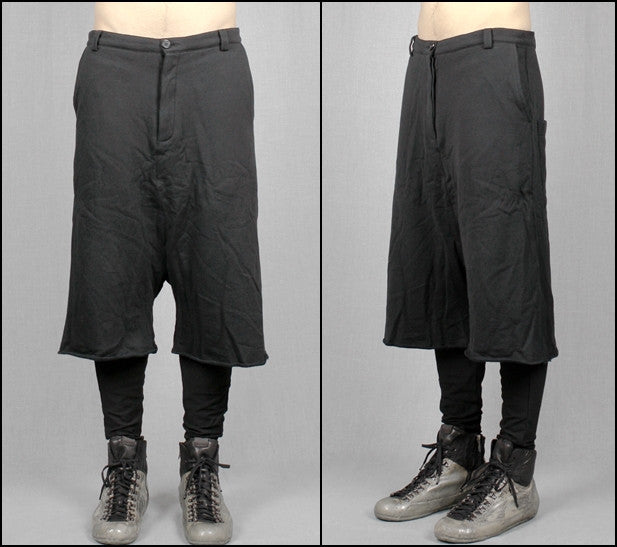 Biker Black Long Shorts with a Drop Crotch and Tapered Leg