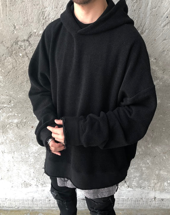 XS-6XL Oversized Front and Back Cross Stitching Hoodies / Raw Edge Round Neck Oversized Pullover Tech Sweater