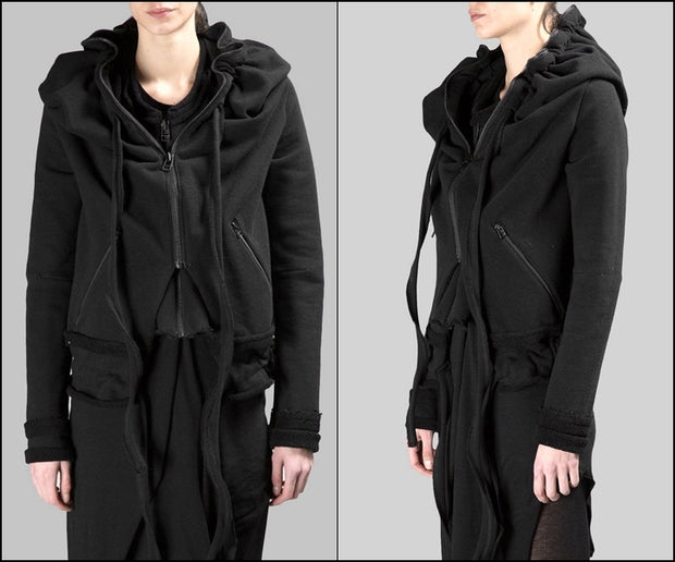 Asymmetric Raw Cut Seam Detail Sweaters Hoodie / Zipped Side Pockets  - Bottom Drawstrings