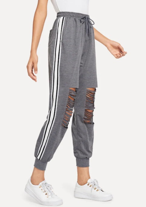 Women Drawstring Waist Striped Tape Side Ripped Pants Jogger