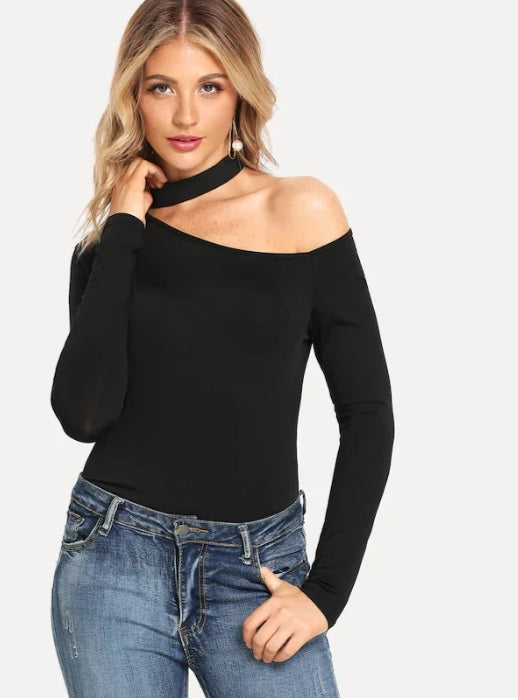 Women Casual Plain Asymmetric Neck Black Sexy Cut Long Sleeve Tee