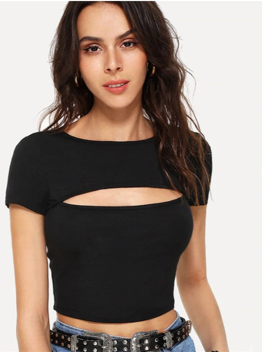 Casual Simple Cut Black T-Shirts