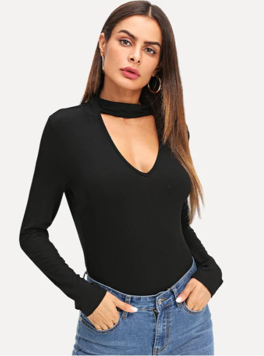 Women Asymmetric Cutout Fitted Long Sleeve Night Out Tee