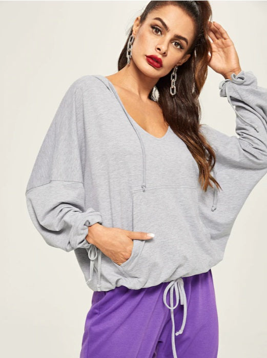 Casual Loose Gray Deep V Sweatshirts Pıllover / Yoga