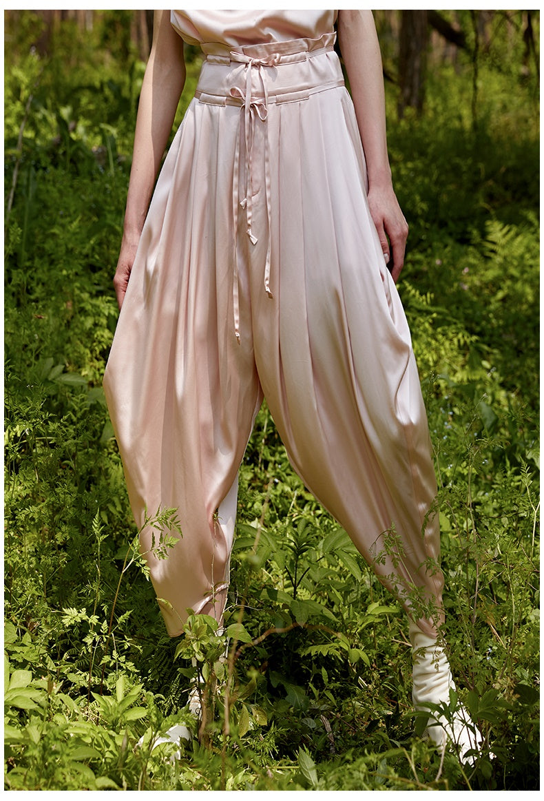 Harem Trousers Drape Silk Satin Casual High Waist Drop Crotch Pants