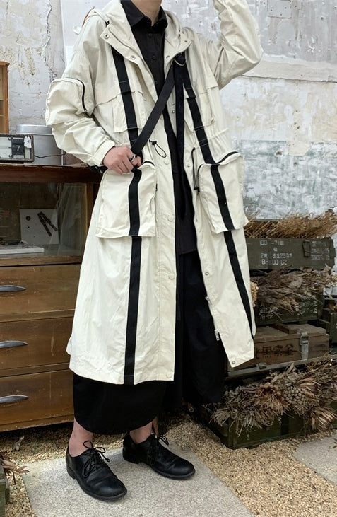 Homemade Yoji Yamamoto Dark Long Windbreaker Jacket / Over the Knee Hooed Big Pocket Loose Trench