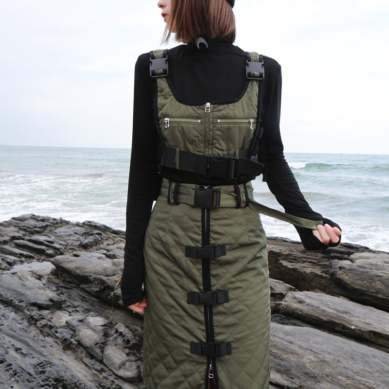 Women SET Multi-pocket Tactical Vest with Strap Buckle Decoration High Waist Straight Knee Skirt 2pcs