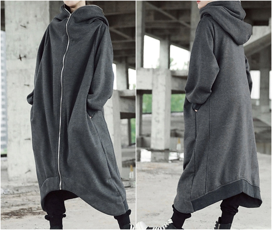 Asymmetric Overlong Oversized Gotham City Hooded Irregular Long Coat Women Winter Loose Windbreaker Casual