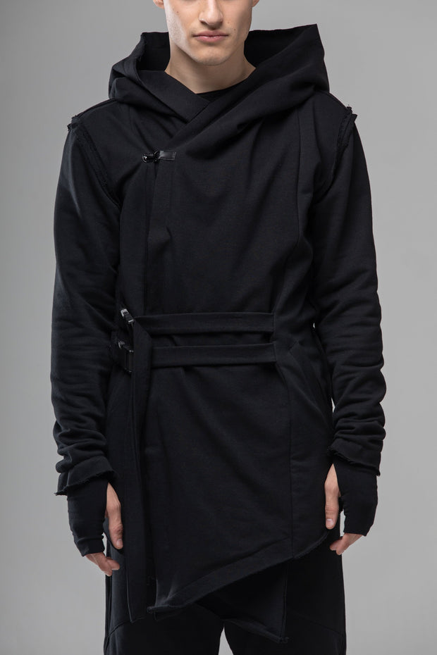 Hooded asymmetrical men coat, cyberpunk gothic black long jacket, post apocalyptic assassins cosplay Jedi outfit, oversized cardigan