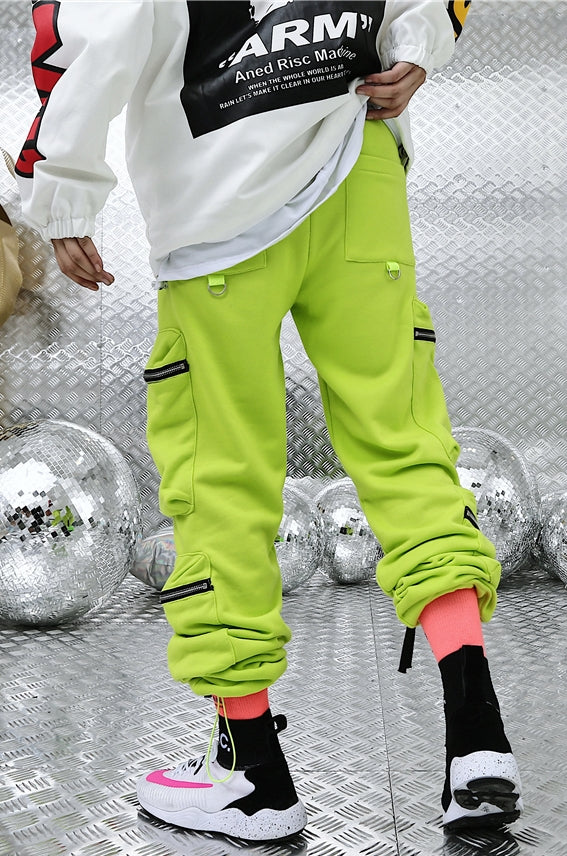 Fluorescent Multi-Pocket Sports Pants Jogger / Men's Trend Casual Pants ACW