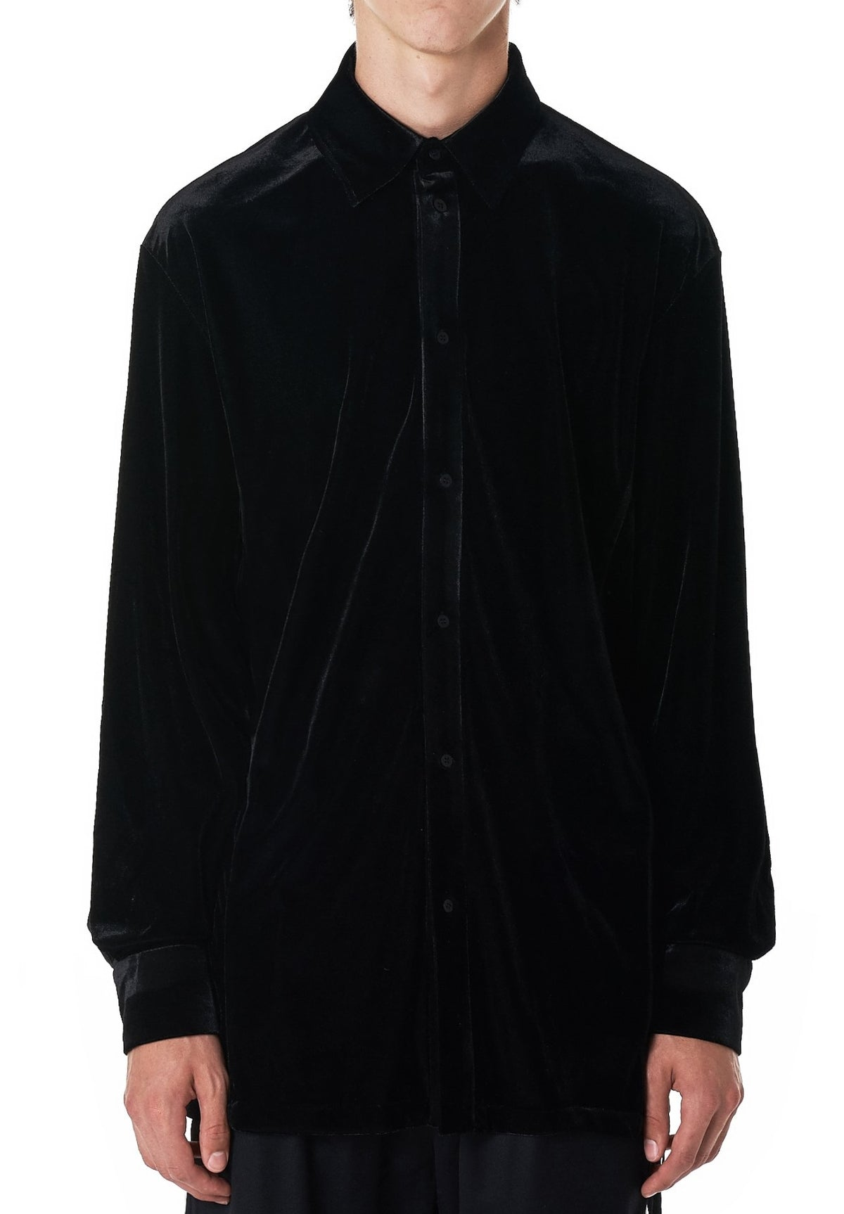 Regular-fit Crushed Velvet Shirt in Black Asymmetric Collar Dropped Shoulder