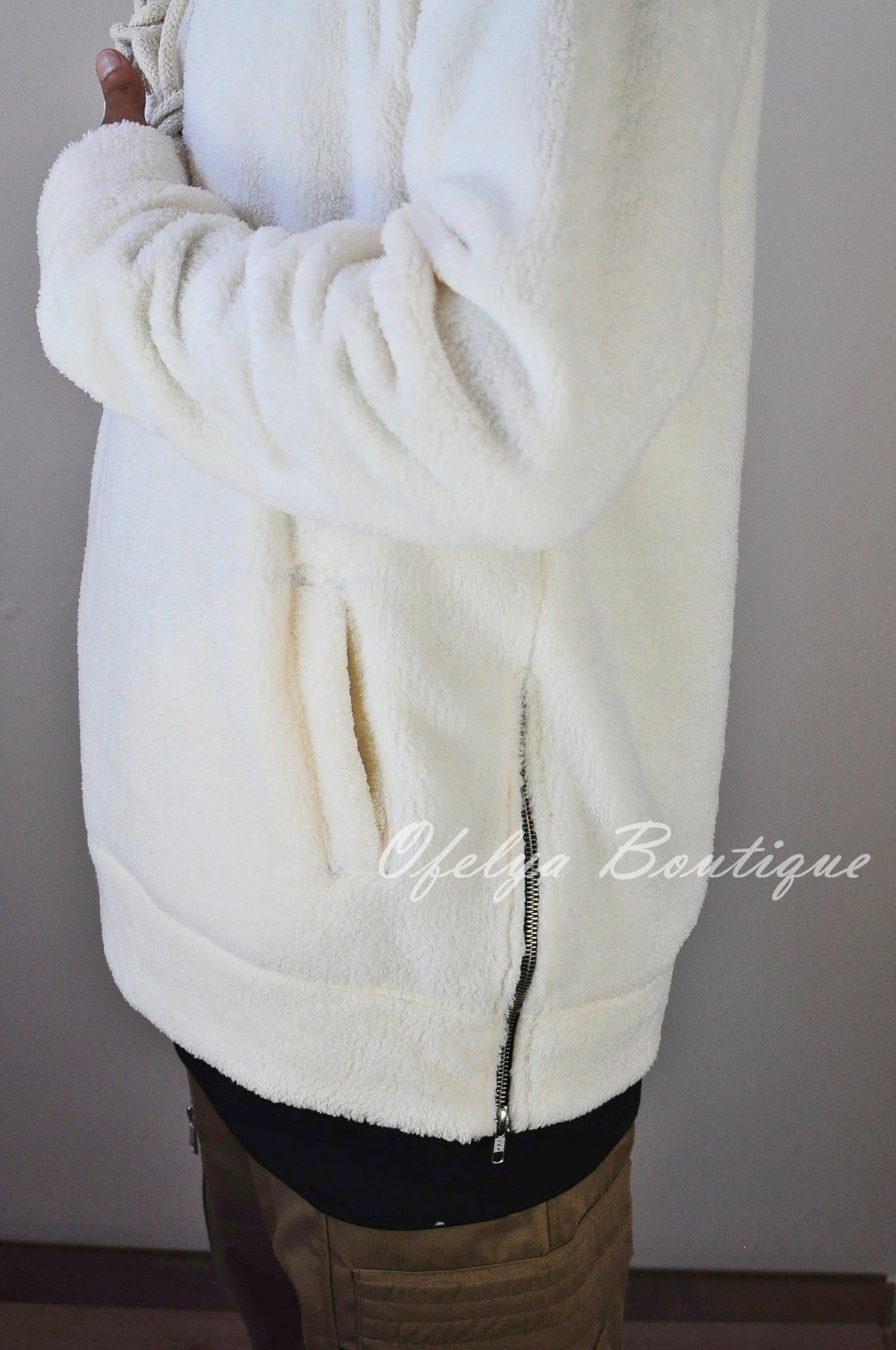 Raf Bubble Furry Side YKK Zip-up Hoodie  Zipper Warm Sherling Sweatshirt Winter