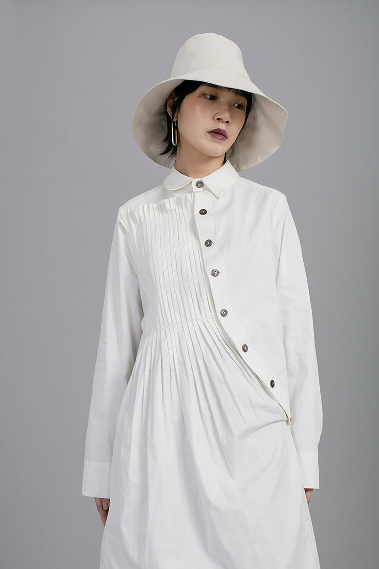 Asymmetric Folding Curved Pleated Middle Long Shirt Tunic