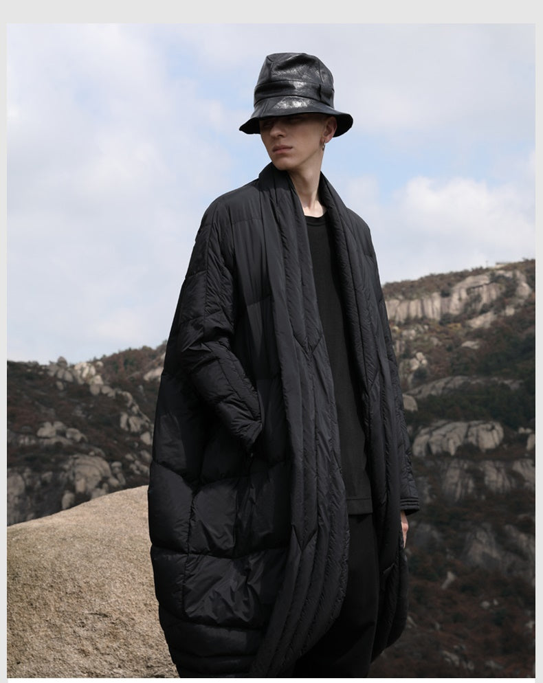 Original Designer Winter Dark Pioneer Extra-Long Length Over the Knee Irregular Jacket