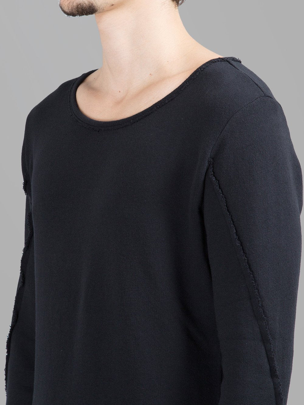 Dark Men's Wide Round Neck Asymmetric Raw Cut Seam Detail Sweaters Hoodie