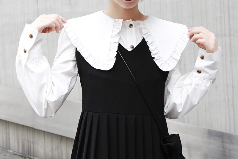 Spring New College Wind Black Pleated Skirt Sleeveless Dress Suit