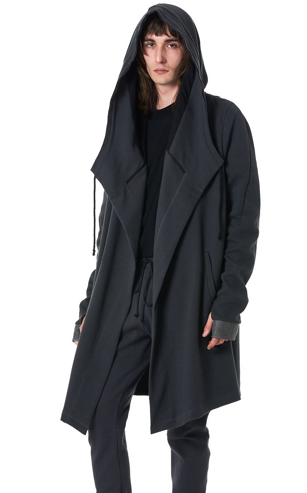 Men's Relaxed-fit Long Big Hooded Cardigan Coat / Asymmetric Elongated Thumbhole Sleeves