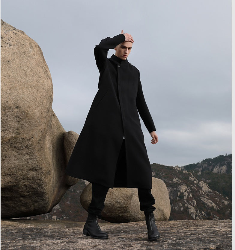 Original Men's New Fashion Business Mid-length Comfortable Jacket Stand-up Collar Woolen Coat