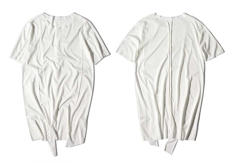 Original Japanese Designer Tide Male Loose Long Irregular Hem Short-Sleeved T-shirt / Asymmetric Cut / Deconstruction