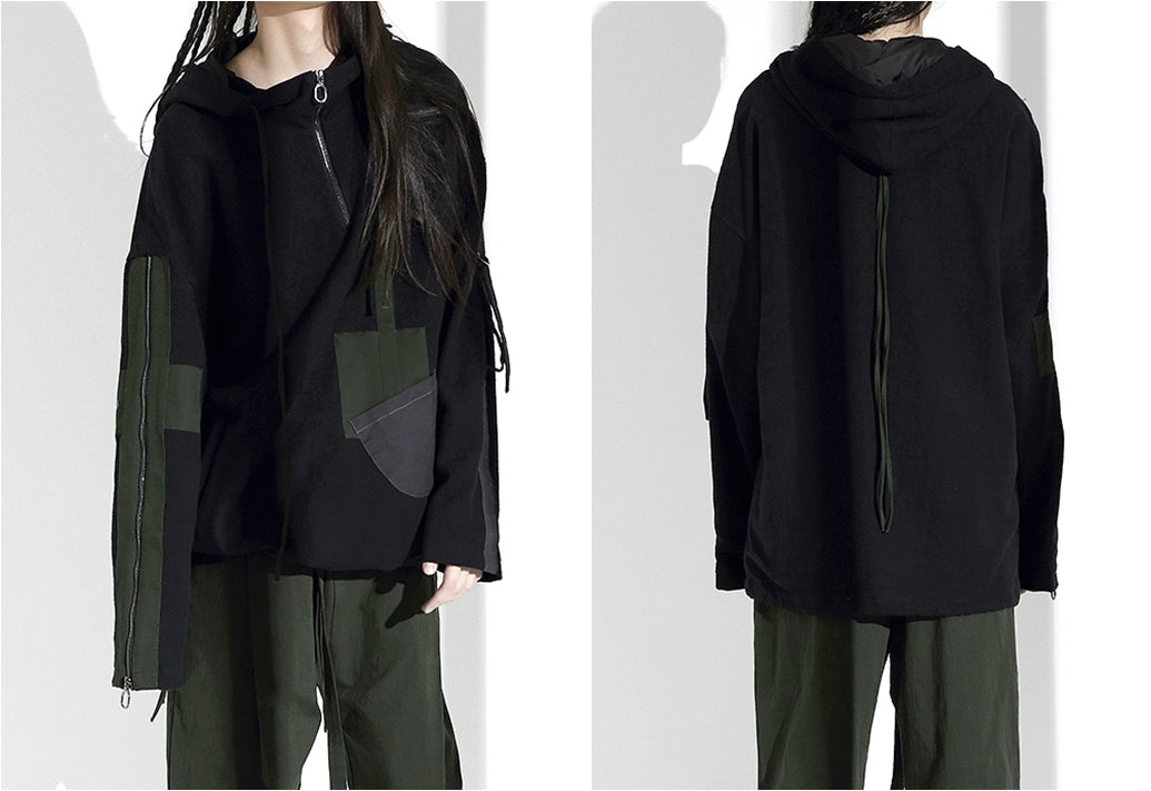 AW 2019 Original Japanese Designer Oversize Loose Streamers Sweater Sleeve Zipper Hooded Goth Pullover