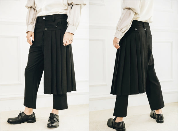 Detachable Wrap Skirt Men's Skirt Layer Suit Pants / Pleated Skirt / Sarrouel Ninja wide leg sports Casual