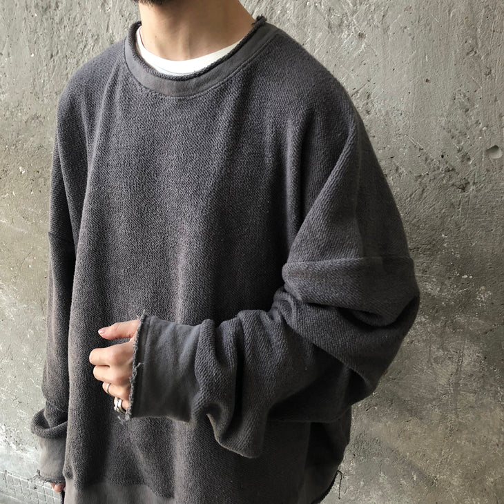 XS-6XL Oversize Positive and Negative Cross Stitching Raw Edge Round Neck Oversized Pullover Tech Sweater