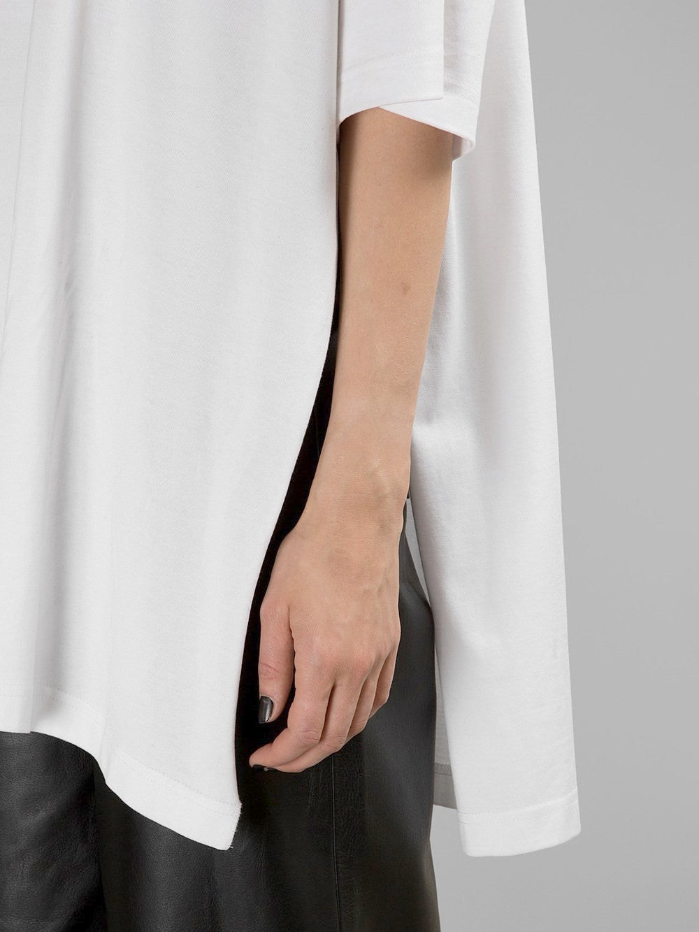 Asymmetrical Side Big Slit Viscose Cotton Oversized Relax Fit Top