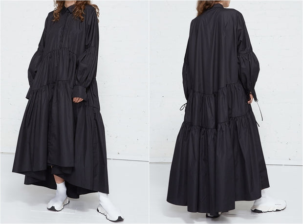 Overlong Expansive Tiered Poplin Shirtdress / Dolman Sleeves / Gathered Cuffs