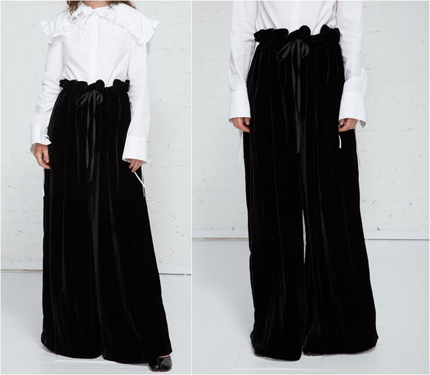 Long Extra Wide Leg Drawstring Trouser in Plush Black Velvet