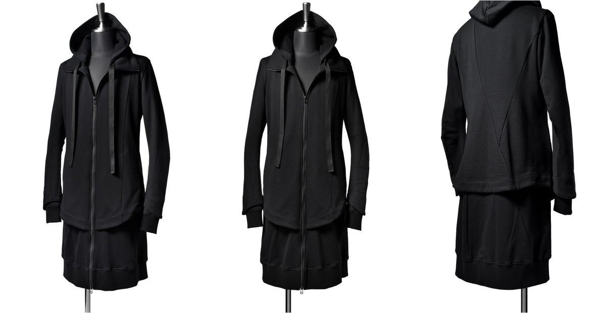 SWEATER LAYER HOODED JACKET / High Neck Long Parka Asymmetry Work