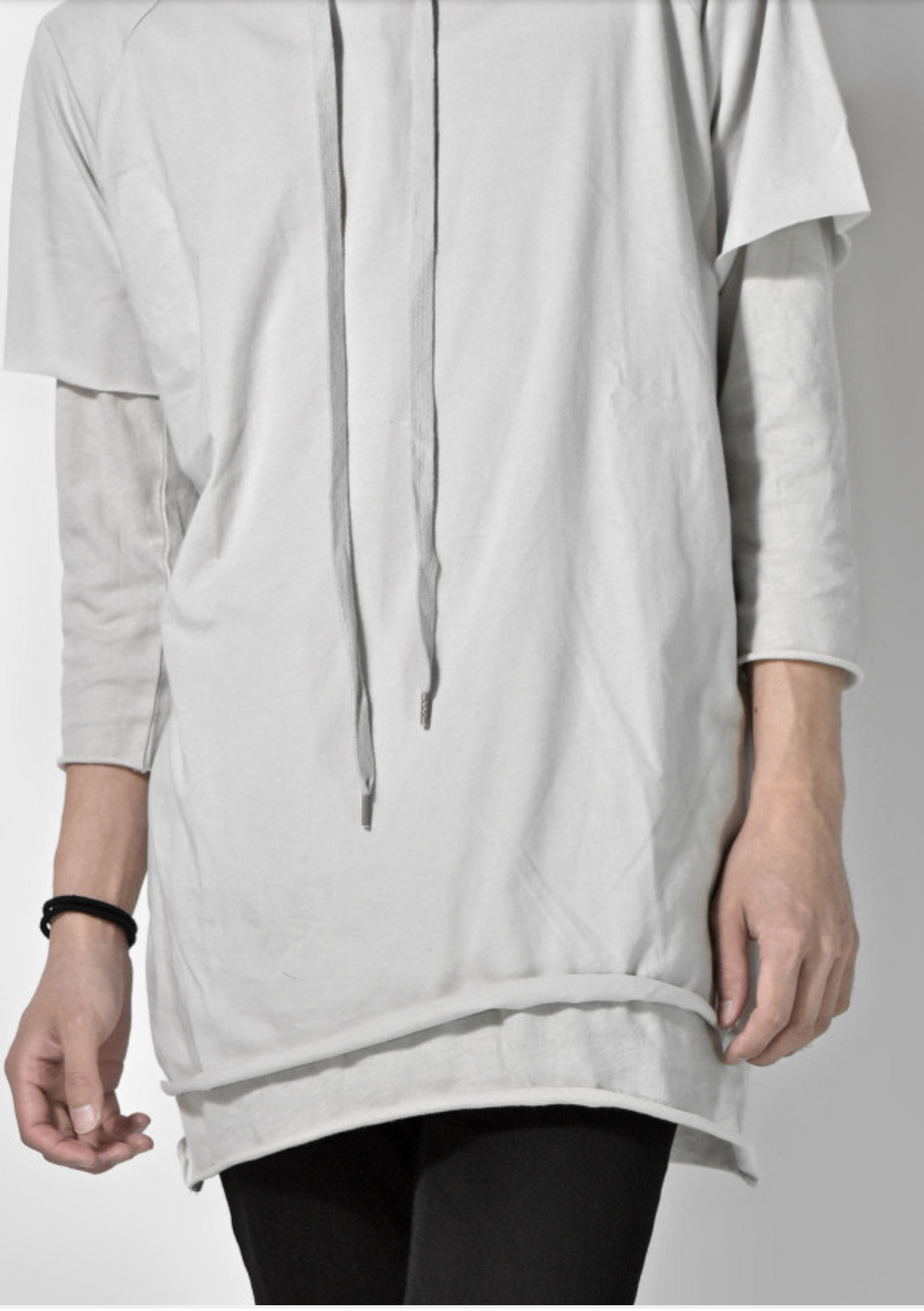 Oversized Hoodie With Double Sleeve In Charcoal Marl