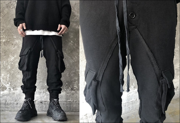 Multi Side Large Pockets Asymmetric Stitching Broken Ripped Look Casual Pants Jogger Ninja