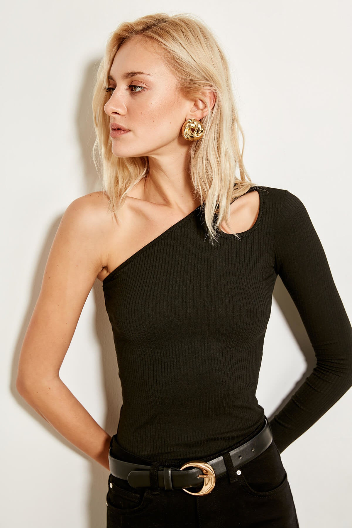 Black One-Sleeved Knitwear Sweater - Cut out Detail