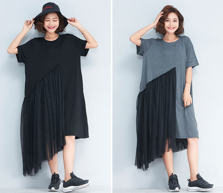 New Short Sleeve Korean Style Dress O-neck Patchwork Mesh Irregular Women Dress
