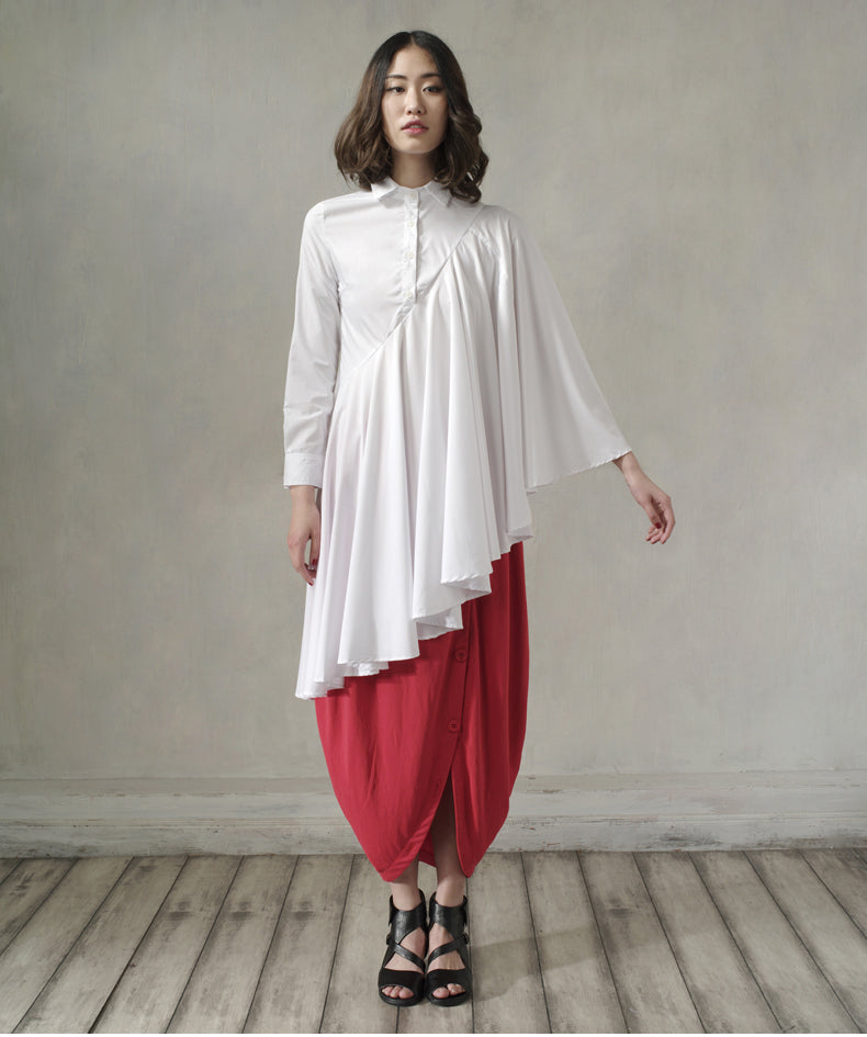 New Long irregular Shirt Loose Women's Curved Draped Hem