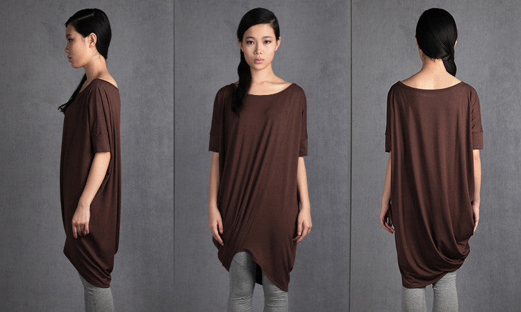 Asymmetric Oversized Top/ Twisted Brown-Grey Top / Party Blouse / Long Tunic / Loose Top / Casual Shirt /