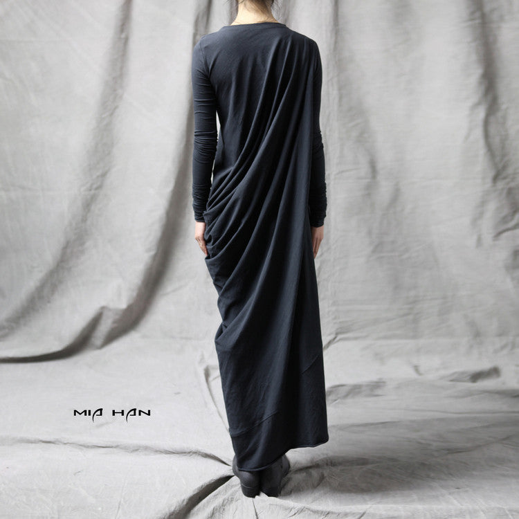 Original Ofelya Design Miracles Asymmetric Stretch Viscose Jersey Cotton Dress // Oversize raglan kaftaN