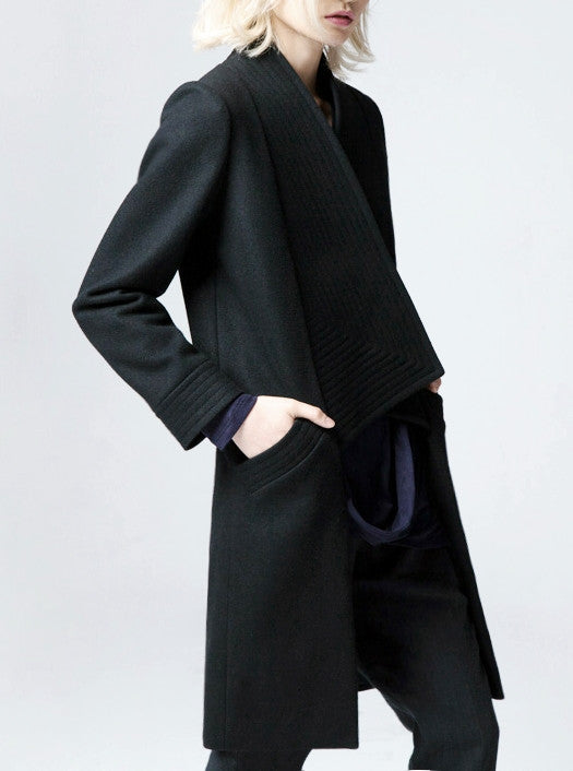 Winter Back Long Quilted Collar Red -Black Woolen Coat Jacket// Short in Front Long Back Loose