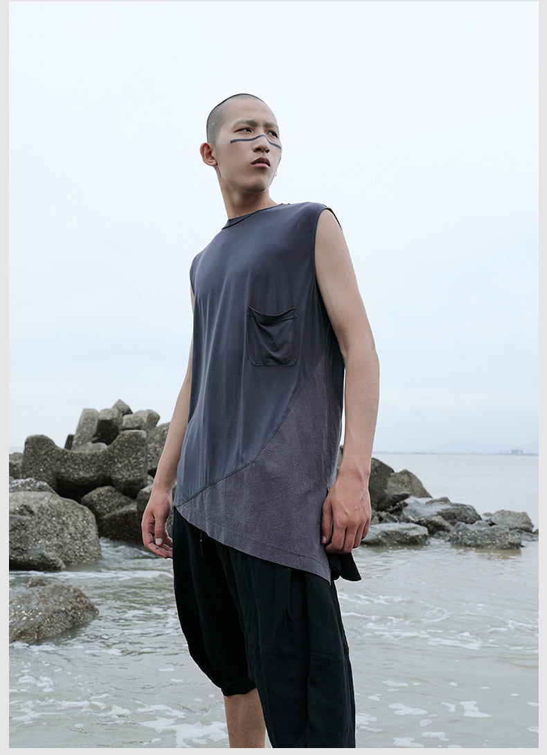 Original Design Men's Sleeveless T-shirt Top Loose Shoulder Vest