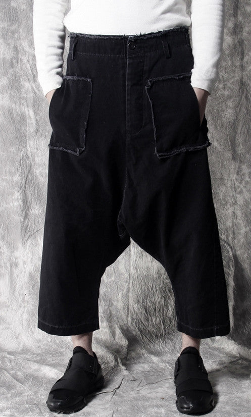 Stretchy Cotton Sarouel Big Front Pocket Drop Croth Pant Trouser
