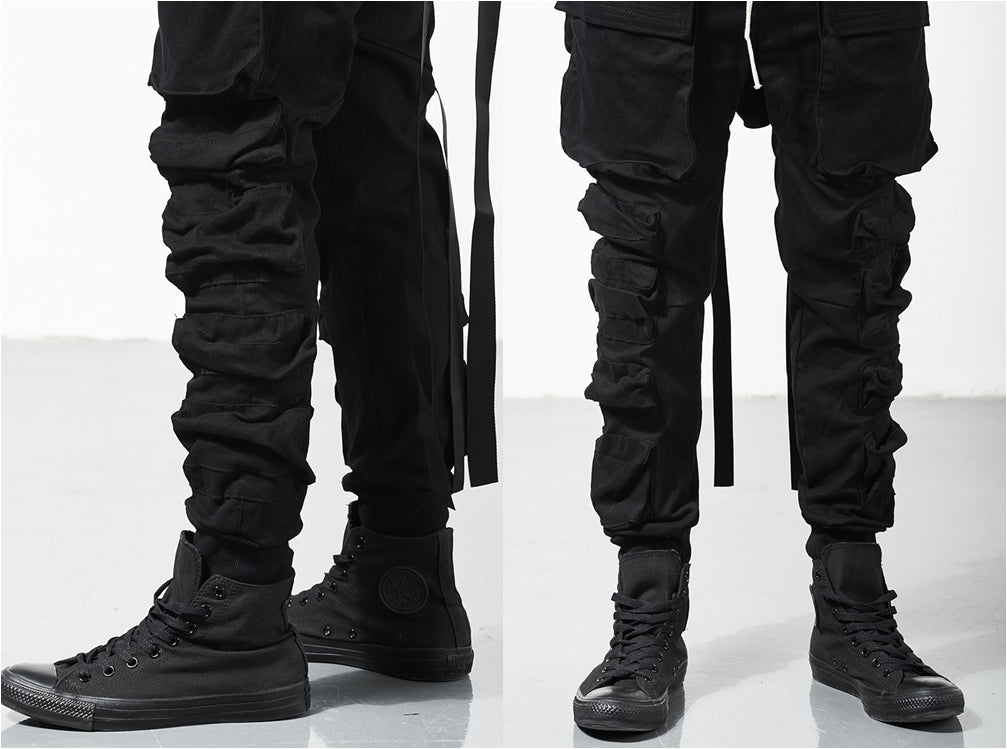 Relaxed Cutting Multi-pocket Cargo Construction Casual Tooling Streamers Beam Tactical Pants