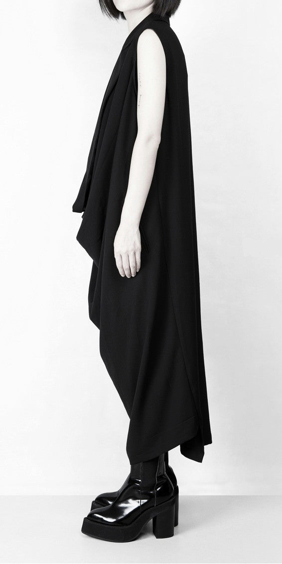 Women Oversize Long Crepe Todd T-shirt Vest Loose Dress