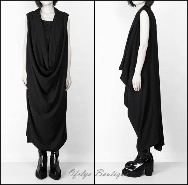 YY Women Oversize Long Crepe Todd T-shirt Vest Loose Dress